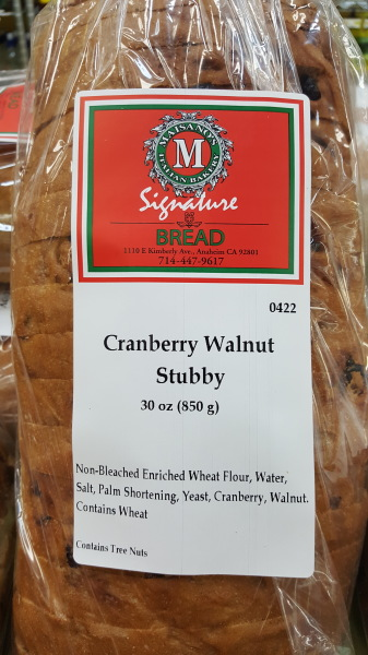 Cranberry Walnut Artisan Bread from Maisanno's Bakery